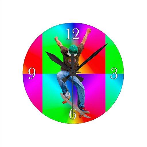 La acción de Psychaedelic del skater se divierte a Relojes De Pared