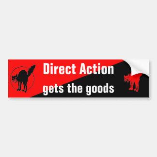 la acción directa consigue el bumpersticker de las pegatina de parachoque
