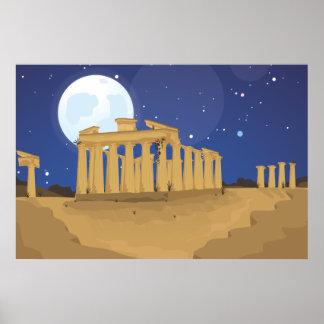 La acrópolis de Atenas Póster
