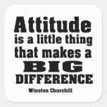 La actitud diferencia grande calcomanías cuadradass