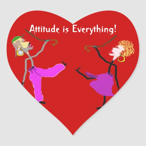 La actitud es baile de la Todo-Mujer con el bastón Pegatina De Corazon Personalizadas