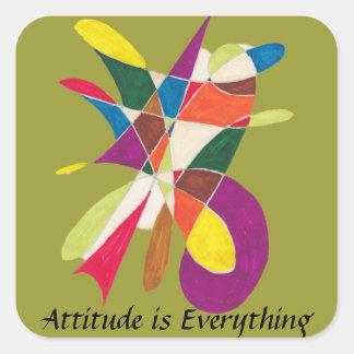La actitud es bosquejo Todo-Abstracto del lápiz Pegatina Cuadrada