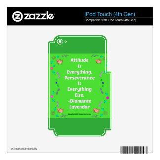 ¡La actitud es todo de Diamante Lavendar! Calcomanía Para iPod Touch 4G