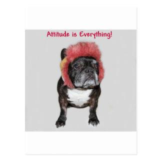 la actitud es todo dogo divertido con el gorra postal