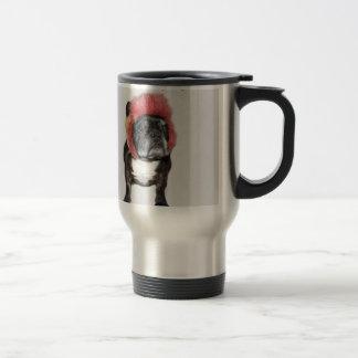 la actitud es todo dogo divertido con el gorra taza de café