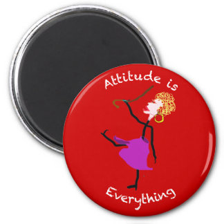 La actitud es todo - mujer mayor imán redondo 5 cm
