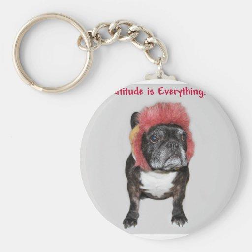 la actitud es todo perro lindo llavero redondo tipo pin