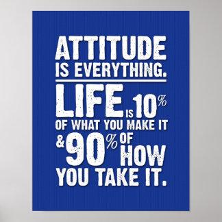 La actitud es todo poster - azul