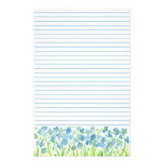 La acuarela alineada lino azul de los efectos de papeleria personalizada