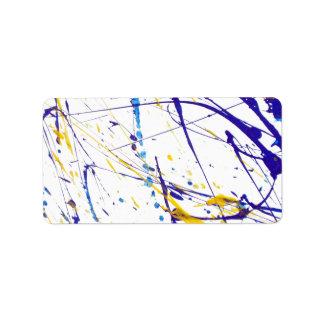 La acuarela amarilla azul moderna salpica el etiqueta de dirección