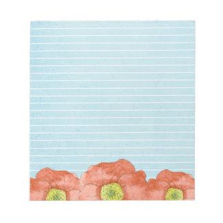 La acuarela anaranjada de la amapola florece azul blocs
