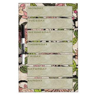 La acuarela Antiqued florece planificador semanal) Tableros Blancos