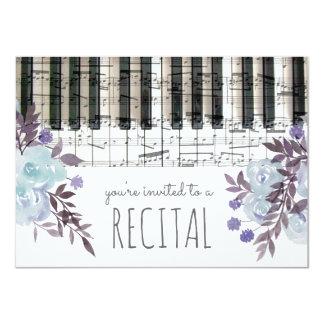 """la acuarela azul florece el decreto de la música invitación 4.5"""" x 6.25"""""""