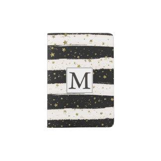 La acuarela blanca negra raya el monograma de las porta pasaportes