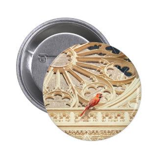 """"""""""" La acuarela cardinal de la iglesia y del pájaro Pin Redondo 5 Cm"""