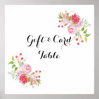 La acuarela color de rosa el   de la tarjeta de póster