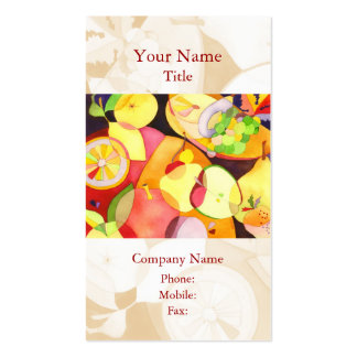 La acuarela colorida da fruto las tarjetas de tarjetas de visita