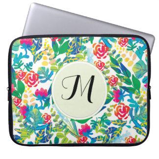 La acuarela de la selva florece el monograma fino mangas computadora