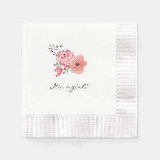 La acuarela de moda florece la fiesta de servilleta de papel