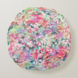 La acuarela de moda fresca salpica arte abstracto cojín redondo