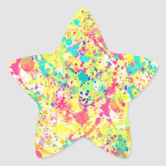 La acuarela de moda fresca salpica arte abstracto pegatina en forma de estrella