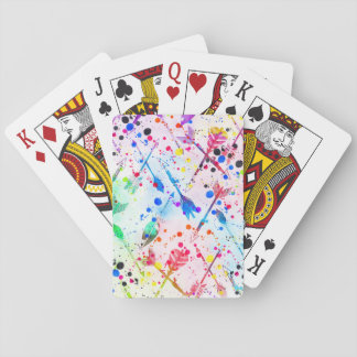 La acuarela de moda fresca salpica flechas cartas de póquer
