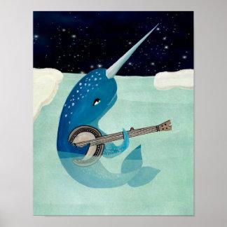 La acuarela de Narwhal - Narwhal que toca el banjo Póster