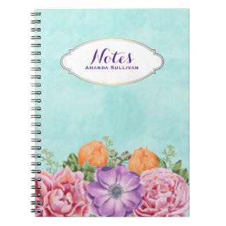 La acuarela del ramo florece personalizado púrpura libro de apuntes con espiral