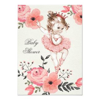 La acuarela elegante de la bailarina florece la invitación 12,7 x 17,8 cm