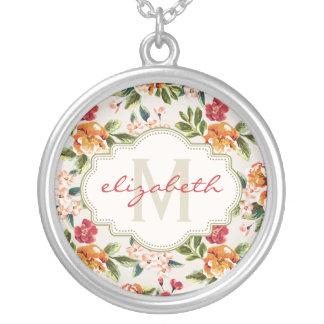 La acuarela elegante del vintage florece con colgante redondo
