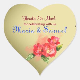 La acuarela floral le agradece favorecer etiquetas pegatina de corazon personalizadas