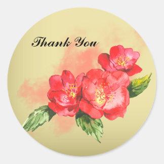 La acuarela floral le agradece pegatina