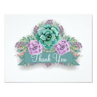 """La acuarela floral suculenta elegante le agradece invitación 4.25"""" x 5.5"""""""