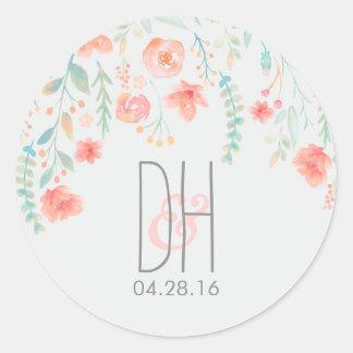 La acuarela florece el boda romántico pegatina redonda