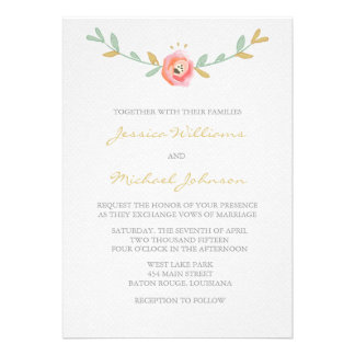 La acuarela florece invitaciones del boda invitacion personal