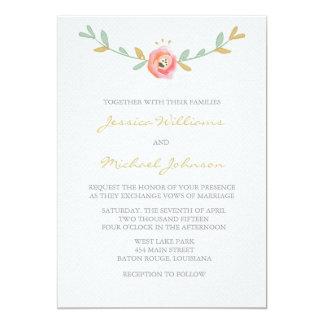La acuarela florece invitaciones del boda invitación 12,7 x 17,8 cm