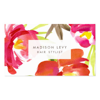 La acuarela florece la cita del estilista del tarjetas de visita