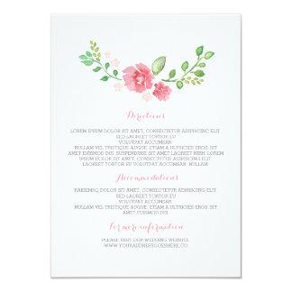 """La acuarela florece los detalles del boda - invitación 4.5"""" x 6.25"""""""