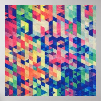 La acuarela geométrica abstracta forma el modelo póster