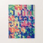 La acuarela geométrica abstracta forma el modelo puzzles