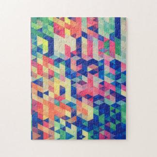 La acuarela geométrica abstracta forma el modelo puzzles con fotos