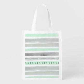 La acuarela gris blanca de la menta moderna raya bolsa para la compra