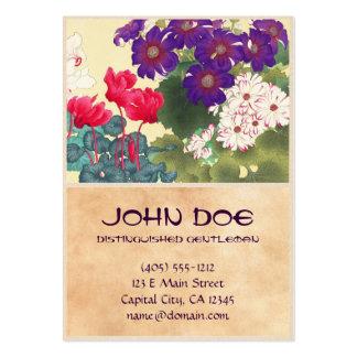 La acuarela japonesa clásica del vintage florece a tarjetas de visita grandes