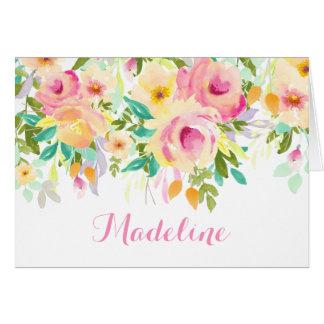 La acuarela moderna, el rosa y el verde le tarjeta pequeña
