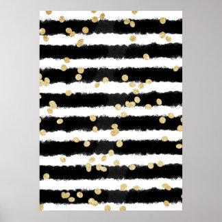 La acuarela negra moderna raya confeti elegante póster