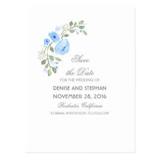 La acuarela pintada florece reserva romántica la postales
