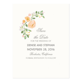 La acuarela pintada florece reserva romántica la tarjeta postal