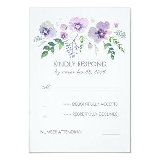"""La acuarela púrpura azul florece casando RSVP Invitación 3.5"""" X 5"""""""