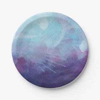 La acuarela púrpura azul salpica diseño platos de papel