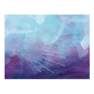 La acuarela púrpura azul salpica diseño postal